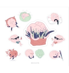 Brain stickers feed and leisure set vector