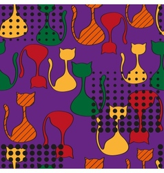 Abstract seamless pattern with colorful cats vector