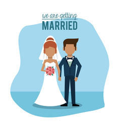 Blue background poster of we are getting married vector