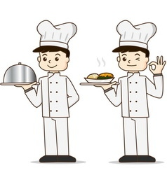 Cartoon cook chef character holding food vector image vector image