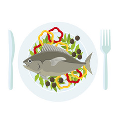 Cartoon fish and fresh vegetables on a plate vector