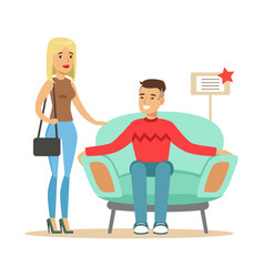 couple choosing armchair for living room smiling vector image