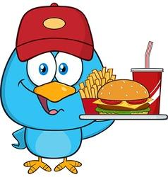 Happy bird waiter cartoon vector
