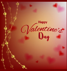 Love valentines day card with hearts on blurred vector