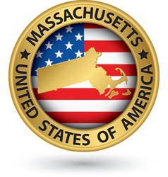 Massachusetts state gold label with state map vector image vector image