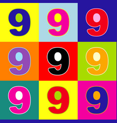 Number 9 sign design template element pop vector