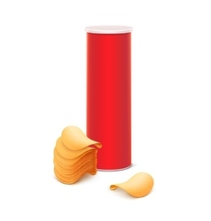 Red box with stack of potato chips isolated vector