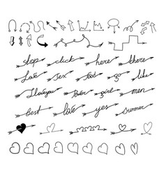 set arrows with inscriptions text and hearts vector image vector image