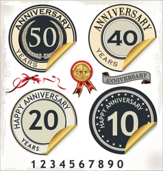Set of anniversary labels vector image vector image