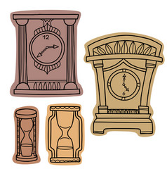 set of doodle hand drawn watches vector image vector image