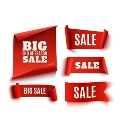Set of five red realistic sale paper banners vector