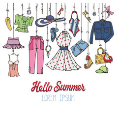 Summer fashion setwoman colorful wear hanging on vector