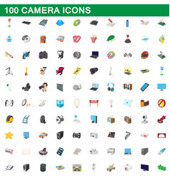 100 camera icons set cartoon style vector image