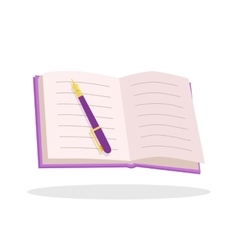 Notebook with Pen Flat Design vector image