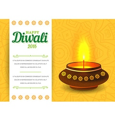 Card design of traditional indian festival diwali vector