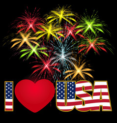 Caption i love the usa stylized flag colors and vector