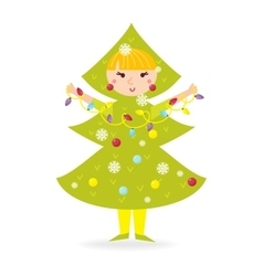Cute kid wearing christmas costume vector