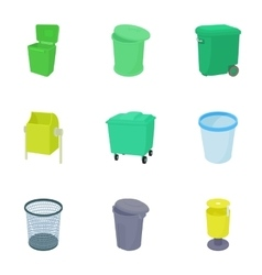 Bin icons set cartoon style vector