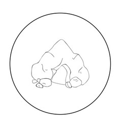 cave icon in outline style isolated on white vector image