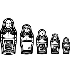 Several russian nested dolls vector