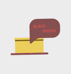 Flat icon of gift box black friday surprise vector