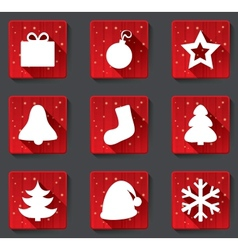 Merry christmas flat paper icons with shadows vector