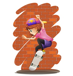 An energetic little girl skateboarding vector