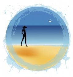 woman on the beach vector image