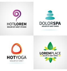 Set of natural spa yoga wellness meditation vector