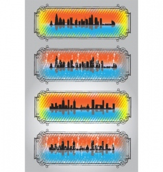 City skyline and silhouettes 2 vector