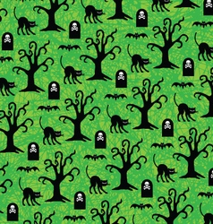 Halloween black cats and spooky trees pattern vector