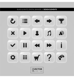Square buttons with icons for interface vector image