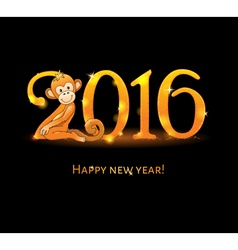 New year card with monkey vector