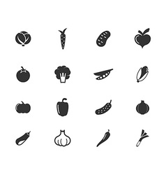 Vegetables web icon set vector image