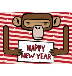 Happy new year funny monkey vector