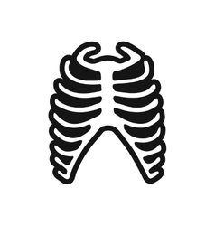 Stylish black and white icon human rib vector