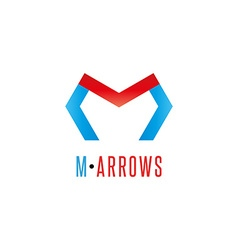 Letter m logo arrows red and blue color direction vector