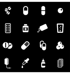 White pills icon set vector