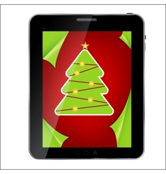 Abstract design Tablet with Christmas background vector image vector image
