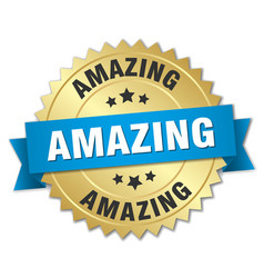 Amazing 3d gold badge with blue ribbon vector