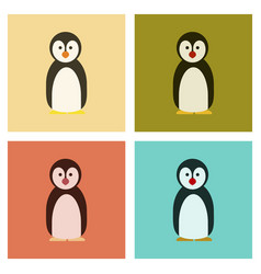 Assembly flat icons nature emperor penguins vector