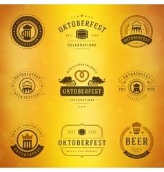 Beer festival Oktoberfest labels badges and logos vector image
