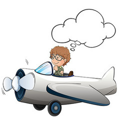 Boy flying jet plane in the sky vector