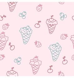 Cartoon seamless background with ice cream vector image