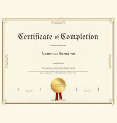 certificate of completion template in vintage vector image
