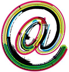 Colorful grunge arobase symbol vector