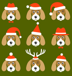 Dogs with santa hats vector