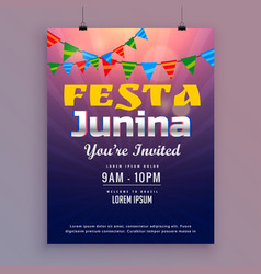 Festa junina greeting card invitation design vector