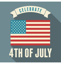 flat design long shadow usa july 4th greeting card vector image vector image