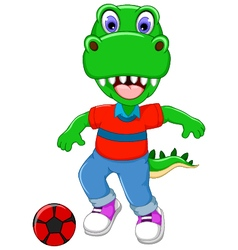 Funny dinosaur cartoon playing football vector